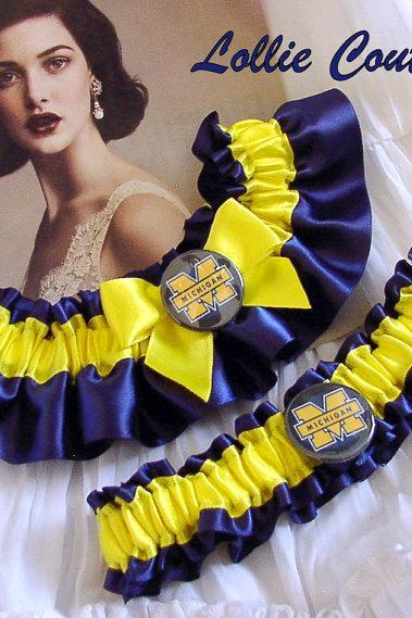 Wedding Garter Set, Bridal Garter set, Football Garters, College Wedding Garters