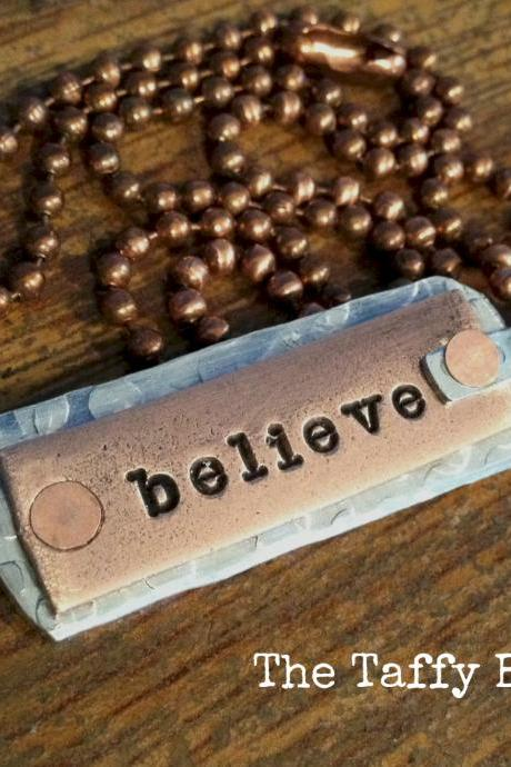Artisan Tag Necklace - believe - hand stamped