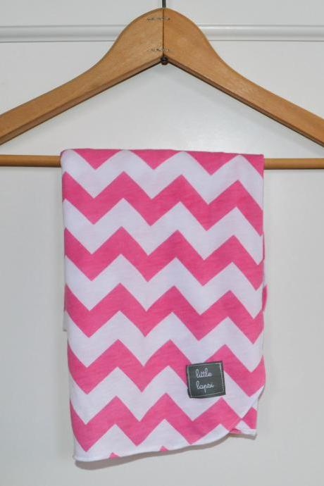 Pink and white Chevron Stripe swaddle blanket. recieving blanket.