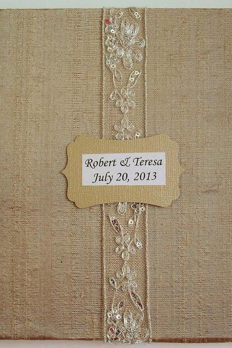 Wedding Guest Book/Photo Album w/Embroidery Sequin Lace (Custom Colors Available)
