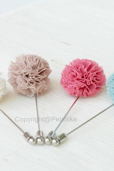 Pom pom tulle Ivory Men's Flower Boutonniere / Buttonhole For Wedding,Lapel Pin,Tie Pin