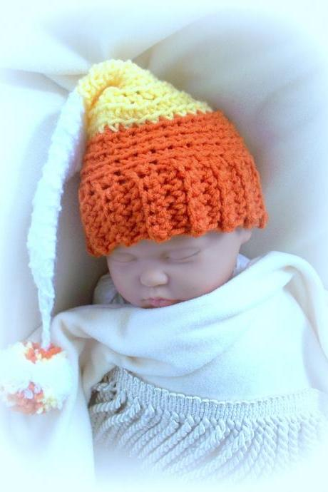 Candy Corn Elf Baby Crochet Hat