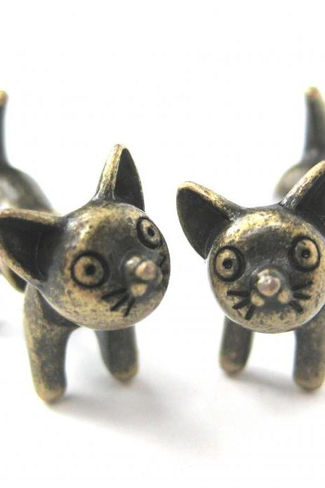 3D Fake Gauge Adorable Kitty Cat Animal Stud Earrings in Brass
