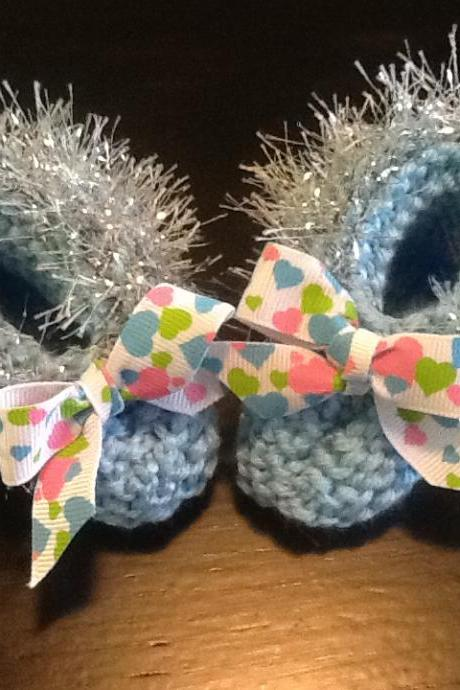 Hearts Trimmed Delicate Handmade Blue Baby Booties