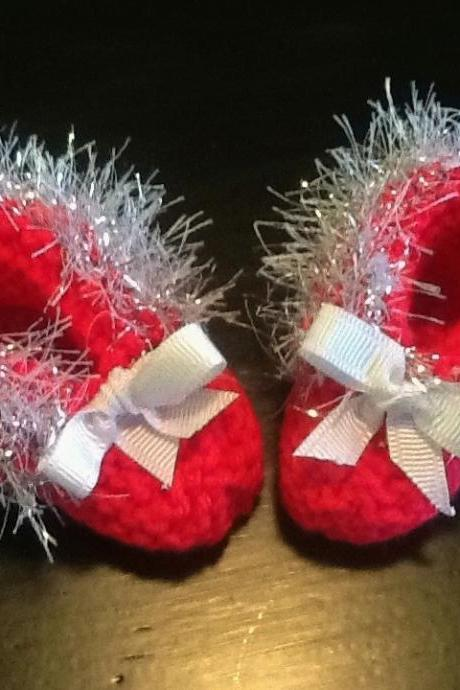 Silver Trimmed Delicate Handmade Neon Pink Baby Booties