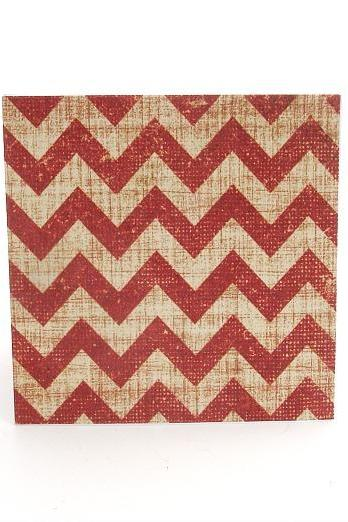 Red and Cream Chevron Mini Note Cards Set of 8 Blank Handmade Mini Cards