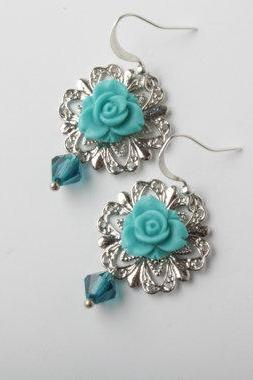 teal blue roses cabochon and silver filigree base earrings - teal blue flower and crystal earrings -shabby chic earrings - flower dangles