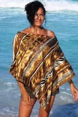 Silky Satin Poncho in Golden Animal print FREE SHIPPING