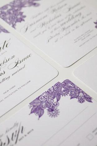 Henna Print Modern Indian Wedding Invitation Suite - (PRINTABLE) - Set of 4