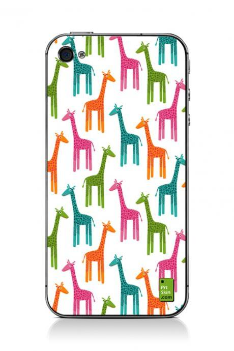 iPhone 4/4S Decal PLUS Matching Wallpaper - Giraffes Multicolor