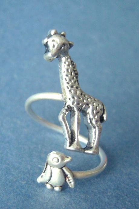 silver penguin giraffe ring wrap style, adjustable ring, animal ring