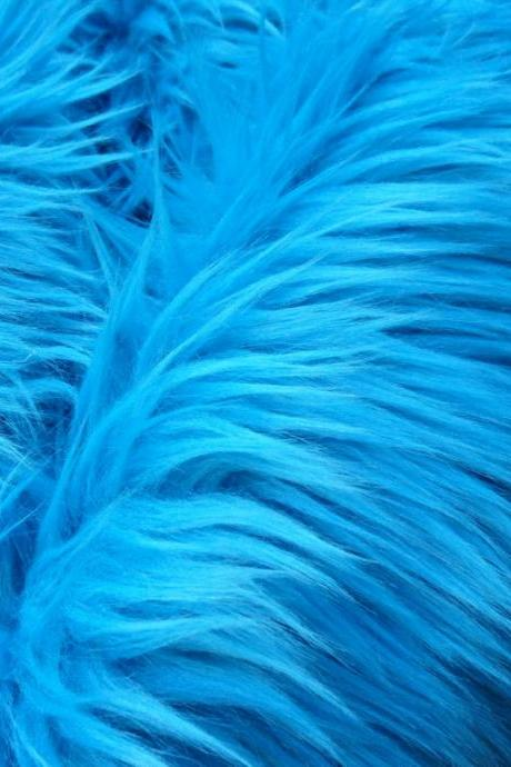 Faux Fur Dark Turquoise - aqua fake craft fur 12 x 18 inches