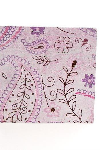 Blank Handmade Mini Cards in Pink Paisley Design Any Occasion Mini Cards Thank Yous Set of 8