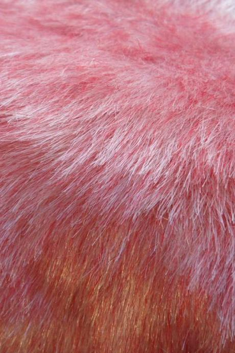 Faux Fur Red and White - fake craft fur 10 x 18 inches