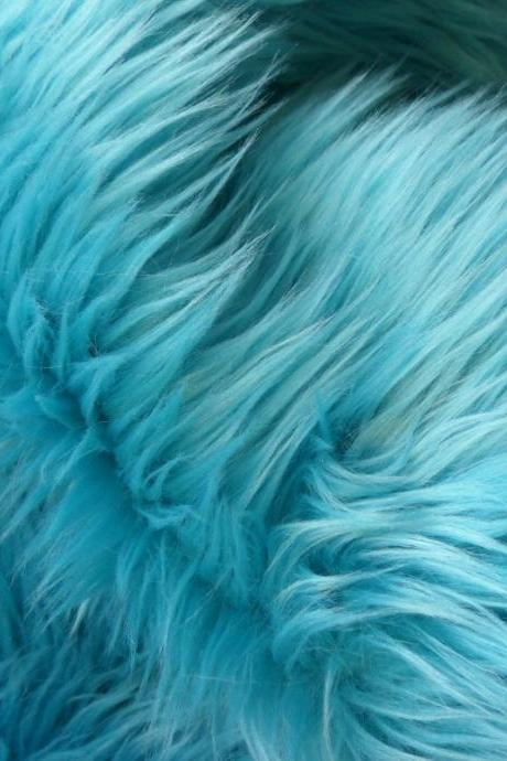 Faux Fur Light Turquoise - aqua fake fur 9 x 18 inches