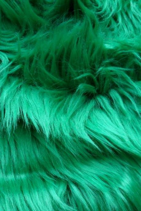 Kelly Green Fake Fur - shamrock green faux fur 10 x 19 inches