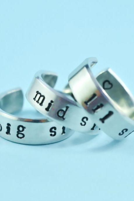 big sis/mid sis/ lil sis - Hand Stamped Rings Set, Shiny Aluminum Spiral Rings, Forever Love, Friendship, BFF gift, Newsprint Font