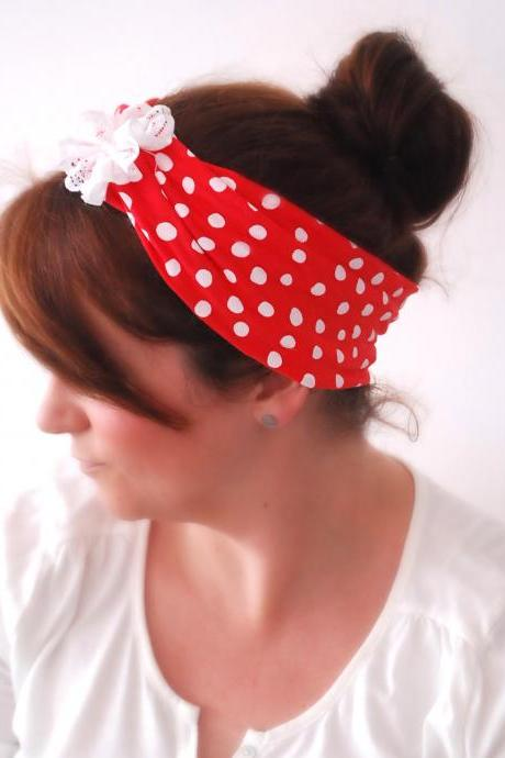 RED Wide stretchy Sparrow headband with White Irregular polka dots and White Lace Flower