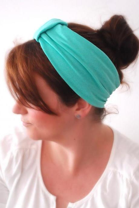 Caribbean GREEN Wide stretchy Sparrow headband Comfortable Turquoise Gym Headband