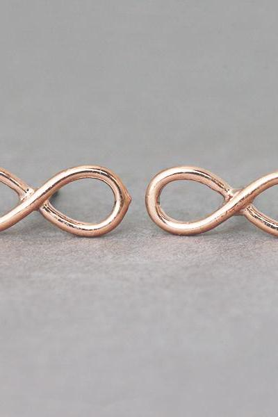 Rose Gold Infinity Stud Earrings
