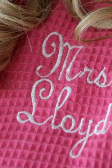 Bride Personalized Waffle Robe.