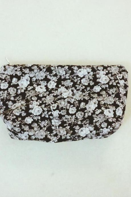 Black Floral Pencil Case