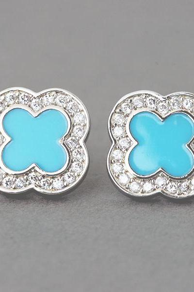 Turquoise 4 leaf clover stud earrings sterling silver