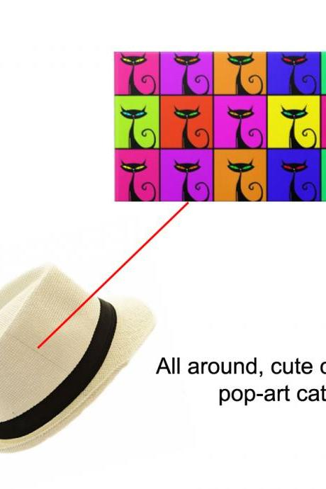 Custom Hand painted hat with Pop Art Cats elements