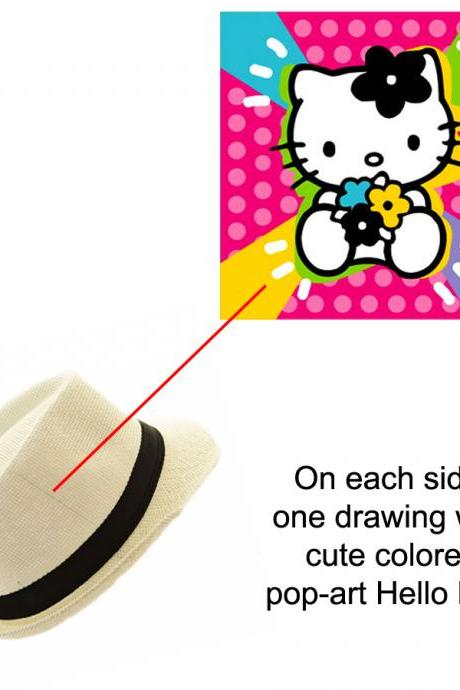 Custom Hand painted hat with Cute Pop Art Hello Kitty