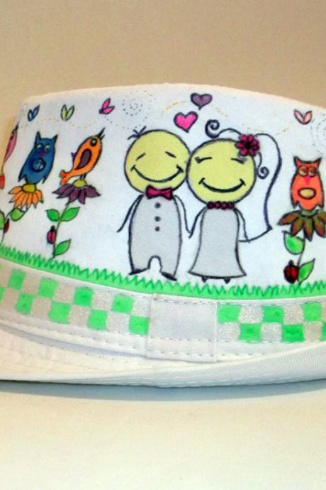 Custom made - Wedding Hand painted hat
