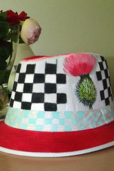 Hand painted hat - made on order