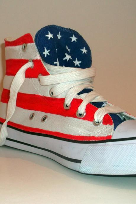 Custom made - Hand Painted Flag Sneakers