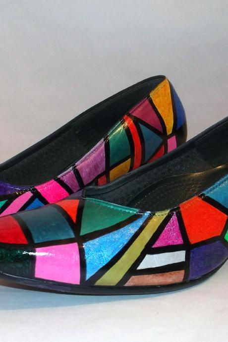 Custom made hand painted Shoes 'Geometric shapes'