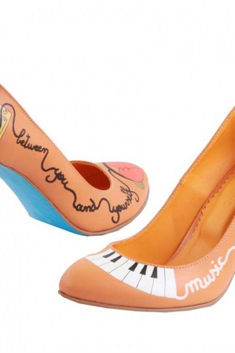 Custom made - Hand painted Shoes I love music