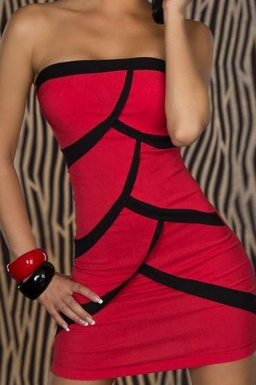 Fashion Red Clubwear Splice Strapless Mini Dress