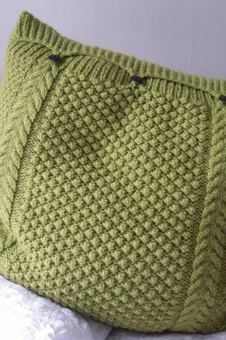 Large Lime Green Pillow / Cushion Cover hand knitted cable bobbles 3 button fastening
