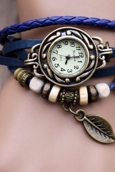 Handmade Vintage Style Leather Band Watches Woman Girl Lady Quartz Wrist Watch Blue