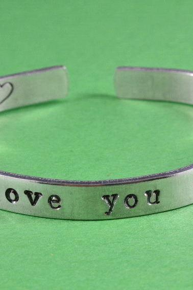i love you more - Hand Stamped Aluminum Bangle Bracelet, Adjustable Skinny Bracelet