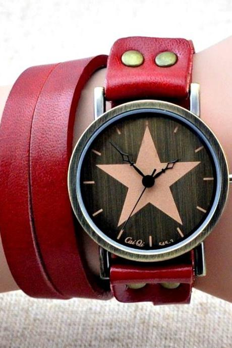 Handmade Vintage Genuine Real Leather Watches Band Lady Woman Girl Quartz Wrist Watch Red