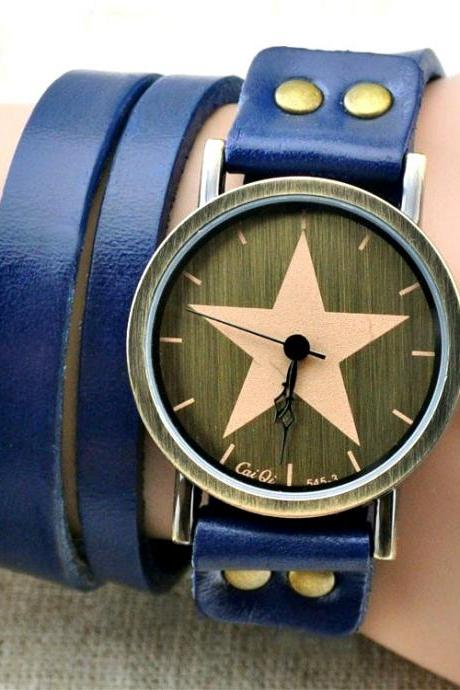 Handmade Vintage Genuine Real Leather Watches Band Lady Woman Girl Quartz Wrist Watch Blue