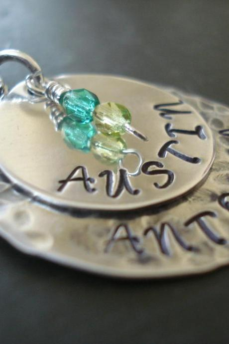 Sterling silver handmade Mothers Necklace, Kids name charms, birthstone charm