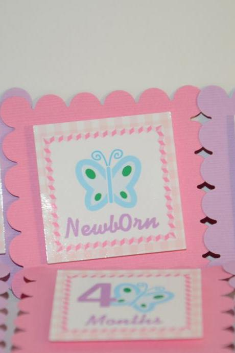 First Year Photo Mini Clips, First Year Banner, Butterfly Garden Birthday Party, Pink, Light purple and Blue Butterfly