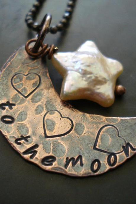 Moon necklace made of copper, Star pearl, to the moon and back necklace