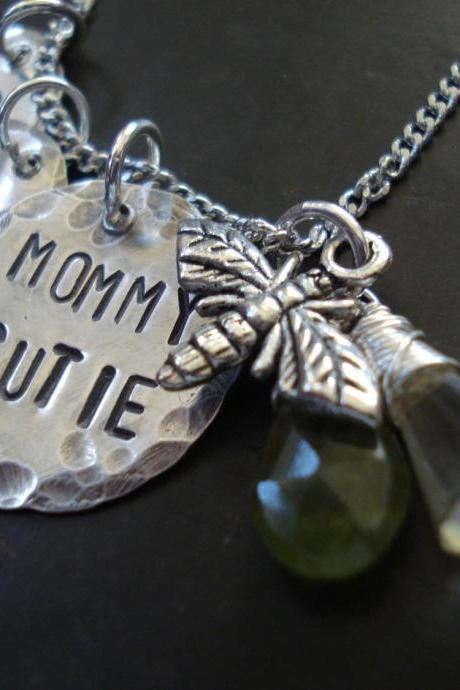 Personalized Mom necklace, grandma necklace with birthstones Handmade Sterling Silver necklace,The Bumble bee.