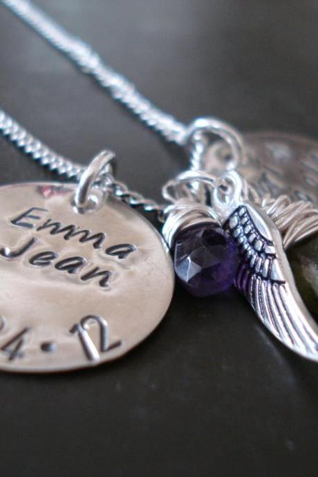 Mommy or Grandma Necklace-hand made sterling silver necklace-Kids Name Charm-birthstone and wing charm