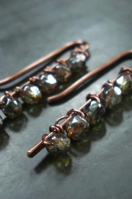 Copper handmade wire wrapped paddle earrings with czech glass beads
