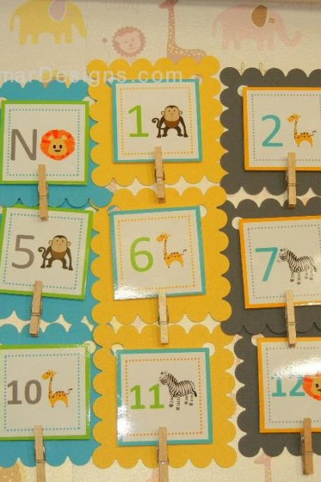 First Year Photo Clips, First Year Banner, Jungle Birthday Party, Any Theme, Zebra, Lion, Giraffe and Monkey