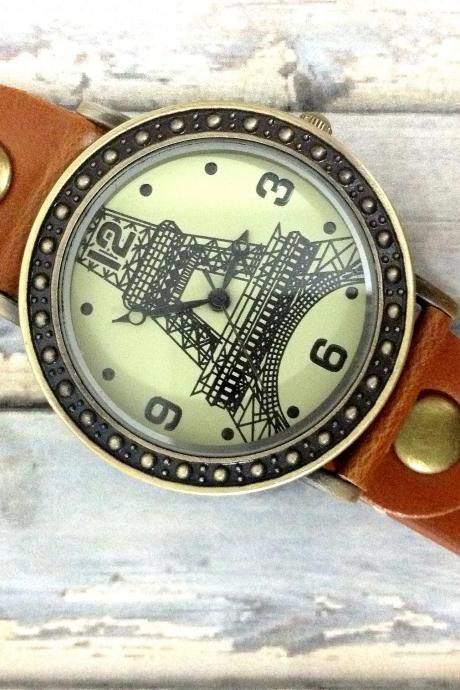 Vintage Eiffel Tower La Tour Analog Elegant Watches Leather Woman Girl Quartz Wrist Watch Light Brown