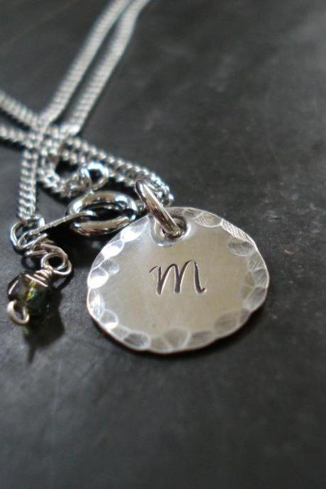 Initial Charm Necklace made of Sterling silver, with a czech glass charm.