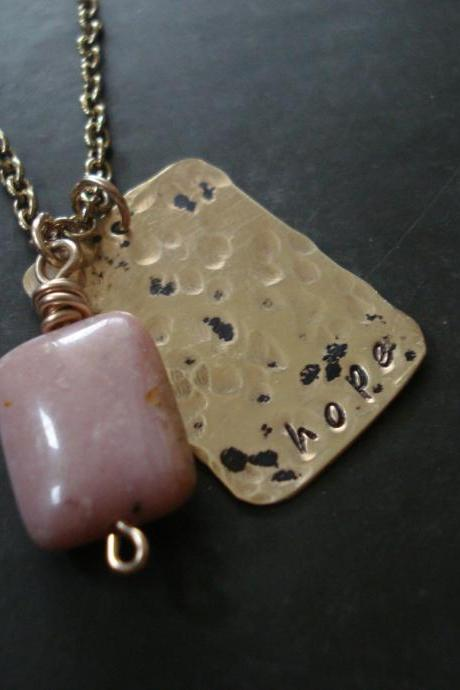 Hope Necklace, Breast cancer awareness necklace, Brass and gold filled with gem stone pendant